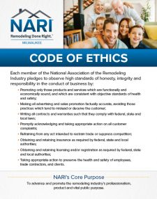 Signage NARI Milwaukee Ad for 2017 Home & Remodeling Show: Code of Ethics