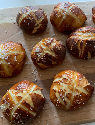Homemade Pretzel Buns made during the quarantine